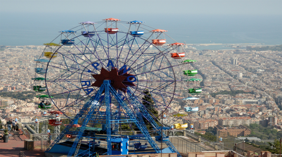 Tibidabo Mountain view by Flyer, Bercelona