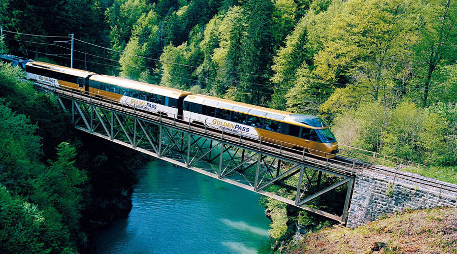 Golden Pass train form Lucerne to Interlaken
