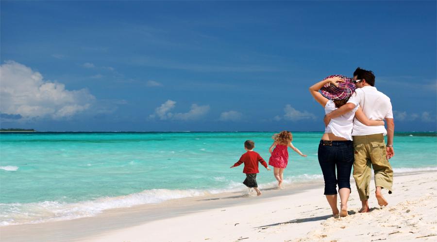 family in beach